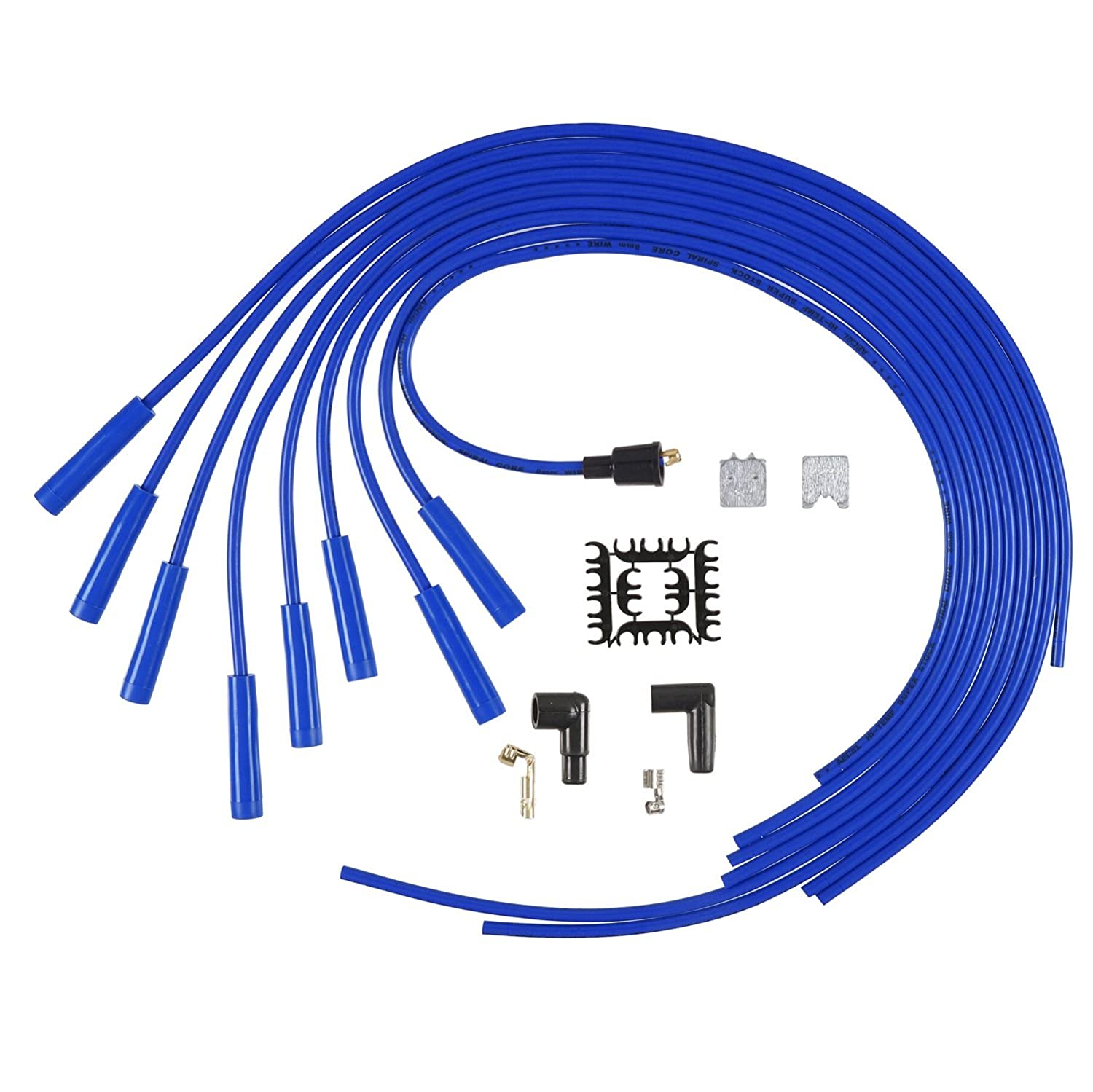 Accel 5040b 8mm Super Stock Spiral Universal Wire Set 1979 Gmc 5000 Electrical Wiring Diagram Blue Automotive