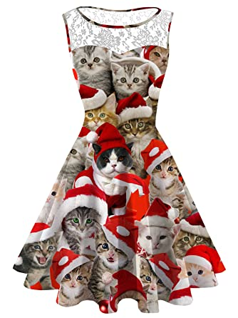 f3e88c7e5e45 Ugly Christmas Dress Women's Plus Size Christmas Cat Lace Printed Dress  Round Neck Sleeveless Cute Party