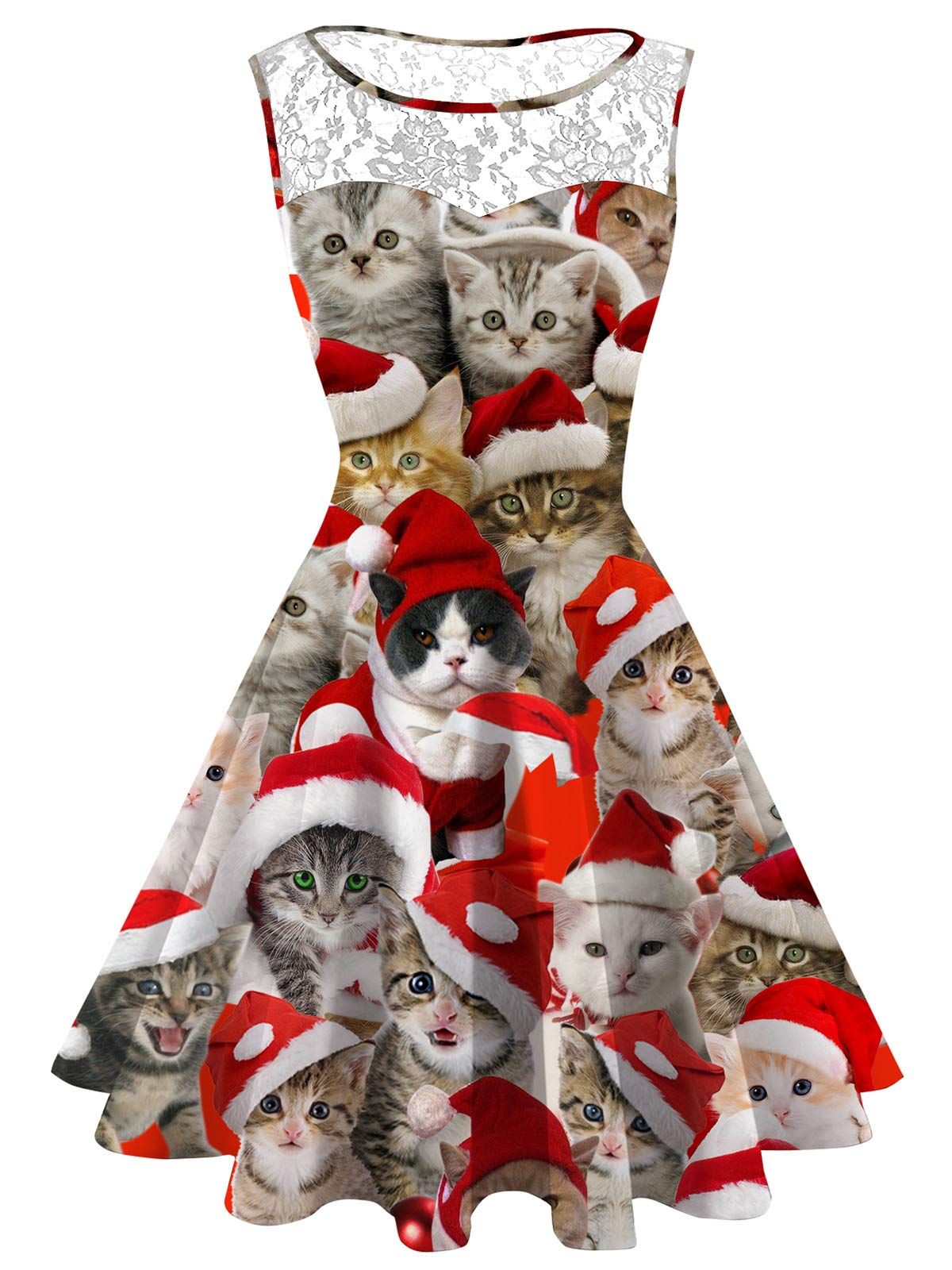 Women\'s Ugly Christmas Dress Plus Size Christmas Cat Lace Printed ...