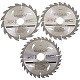 Silverline 436755 Lot de 3 lames de scie circulaire TCT 16T, 24T et 30T 10/16/30mm Diamètre 160 mm