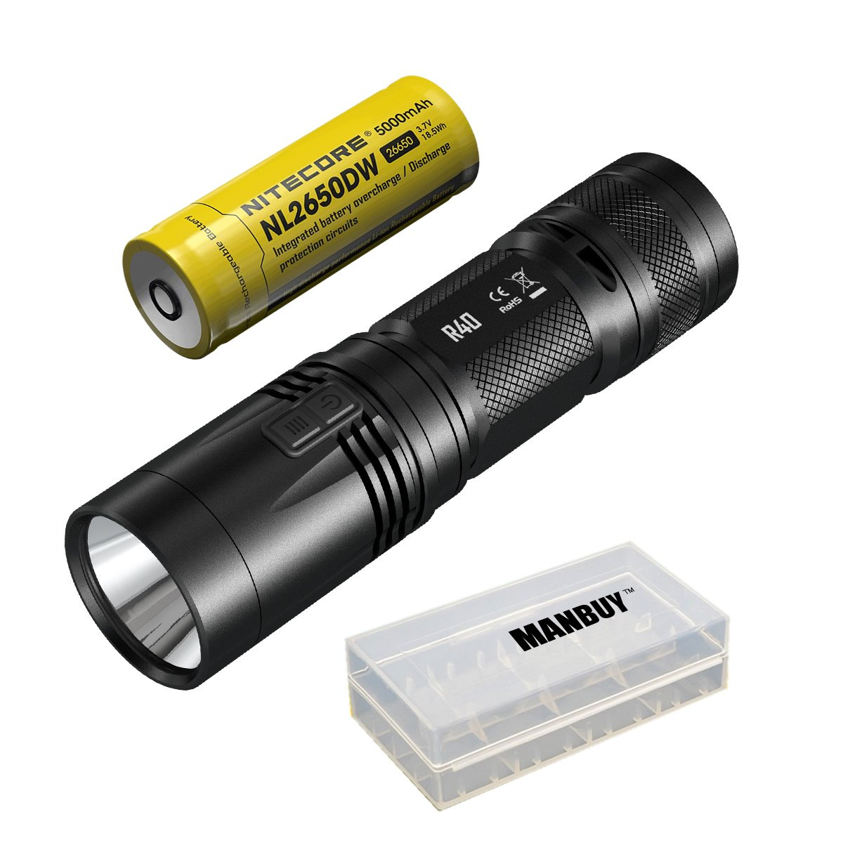 Manbuy NITECORE 1000 lumens XP-L HI LED Rechargeable White light With Battery Gear Outdoor Camping Search R40 Flash Light Hand lamp