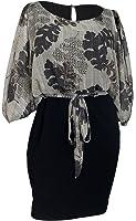 eVogues Plus Size Cold Shoulder Batwing Blouson Dress