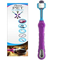 ZACAL Pet Dog Toothbrush, Triple Head Brush To Clean The Whole Tooth In The Same Brush Motion - Suitable For Medium & Large Size Dogs (PURPLE)