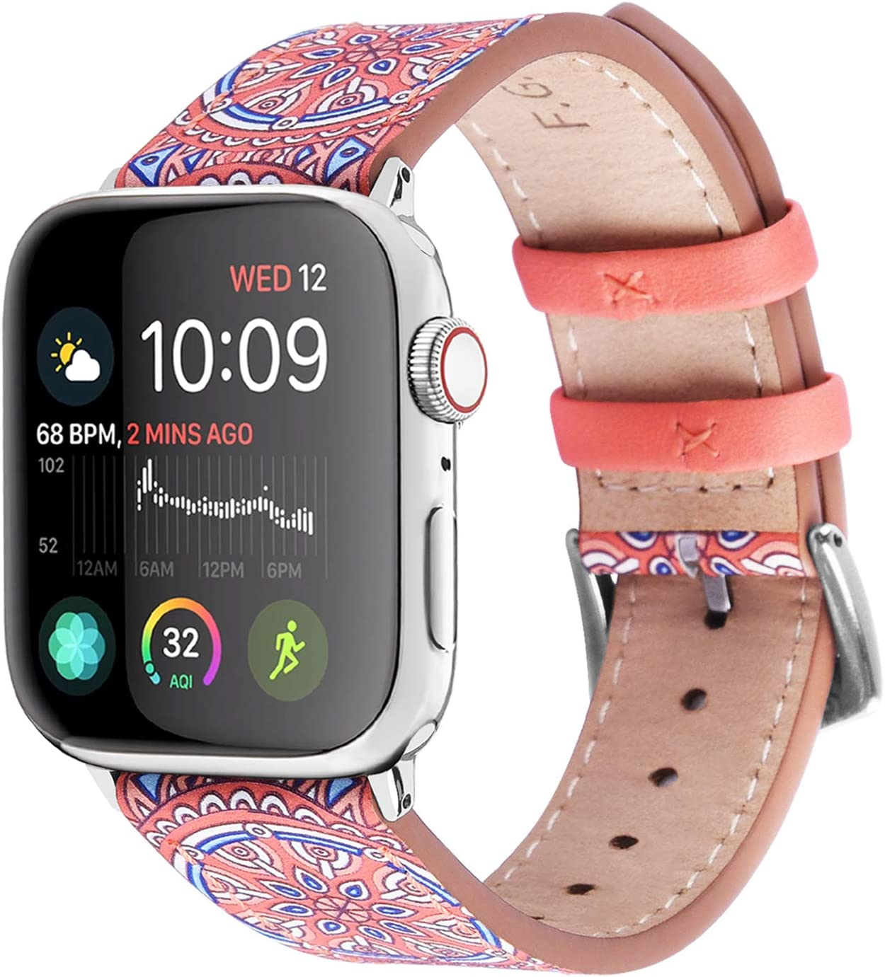 Fullmosa Apple Watch Band 42mm 44mm 40mm 38mm, Galeri Printed Leather Apple Watch Band Compatible for iWatch Series SE/6/5/4/3/2/1,42mm Orange