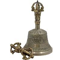 DharmaObjects Large Tibetan Buddhist Meditation Bell and Dorje Set