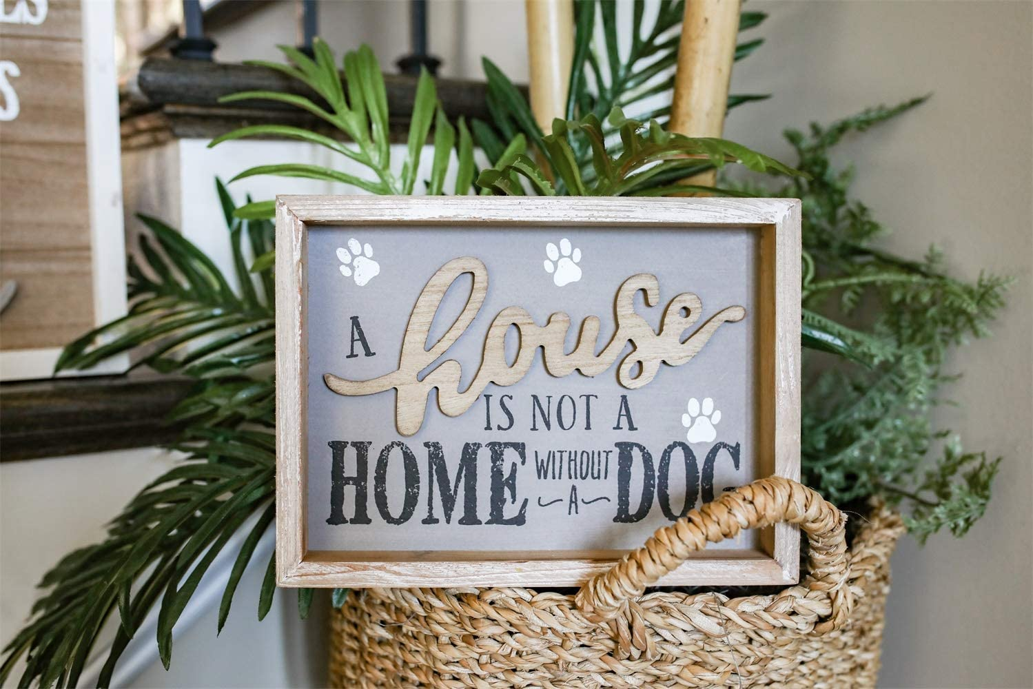 A House is Not A Home Without A Dog Vintage Wooden Frame Wall Sign, Farmhouse Rustic Wood Pet Decor for Dog Lovers, 9.5 x 1.5 x 7 Inches