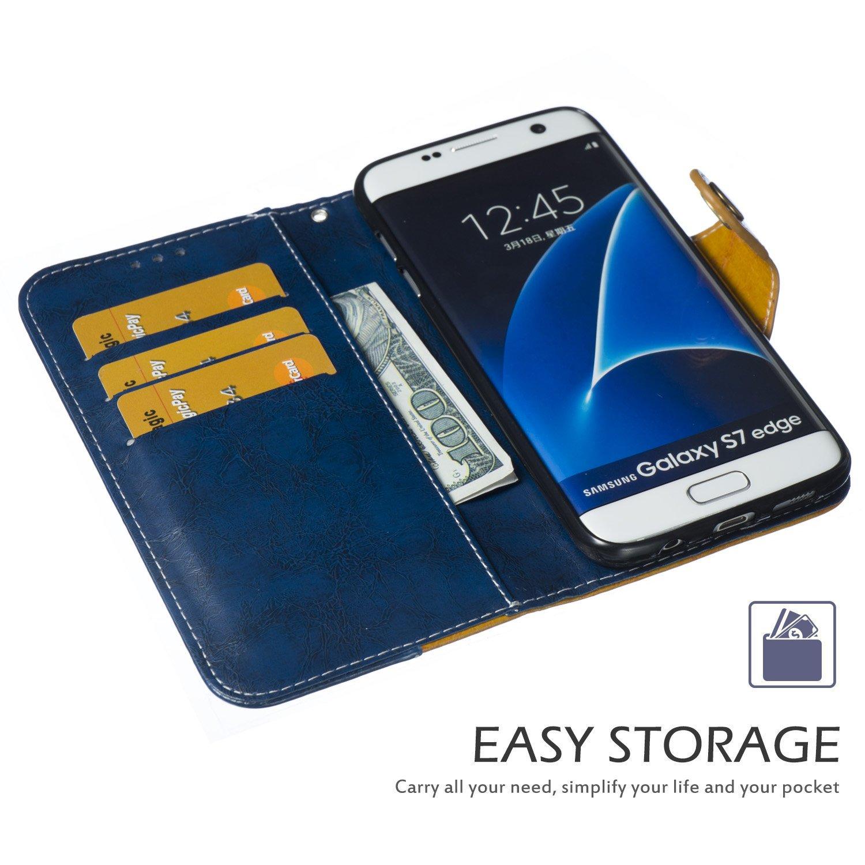 Retro Blau Mehrfarbig Klappbar Stand Flip Case Bookstyle Ledertasche Magnetverschlu/ß mit Karte,EINWEG MoreChioce kompatibel mit Galaxy S7 Edge H/ülle,kompatibel mit Galaxy S7 Edge Lederh/ülle