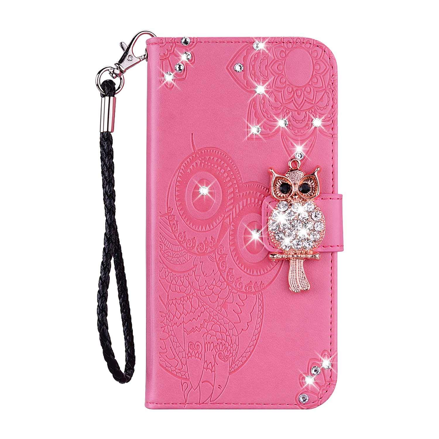 Bear Village Galaxy M10 Case, Leather Case with Wrist Strap and Credit Card Slot, Owl Magnetic Closure Shockproof Cover for Samsung Galaxy M10, Pink by Bear Village