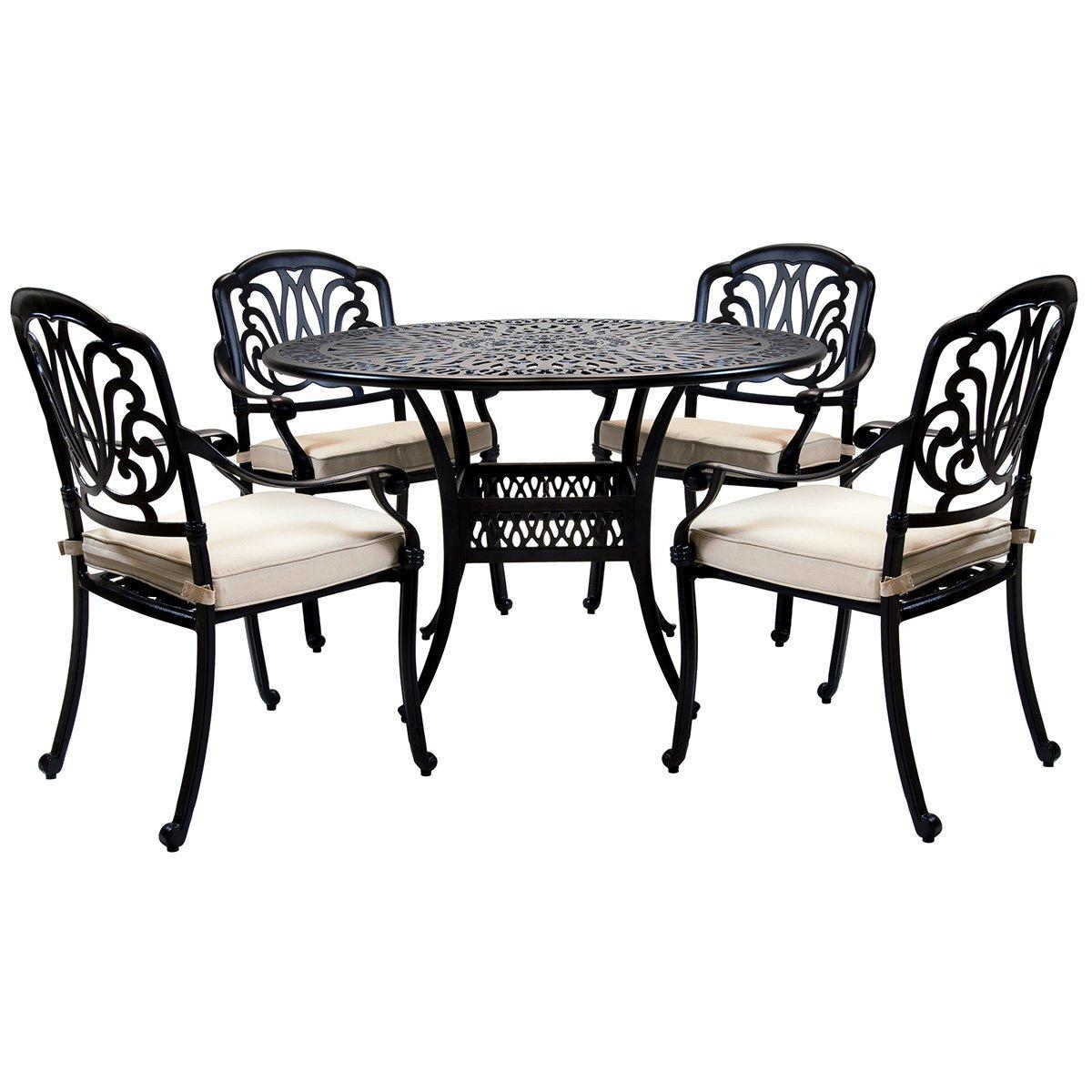 Bentley Garden - Sitzgruppe mit 4 Stühlen - Aluminiumguss - Für Garten & Terrasse - Schwarz