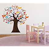 Wallstick 'Book Tree' Wall Sticker (Vinyl, 49 cm x 4 cm x 4 cm)