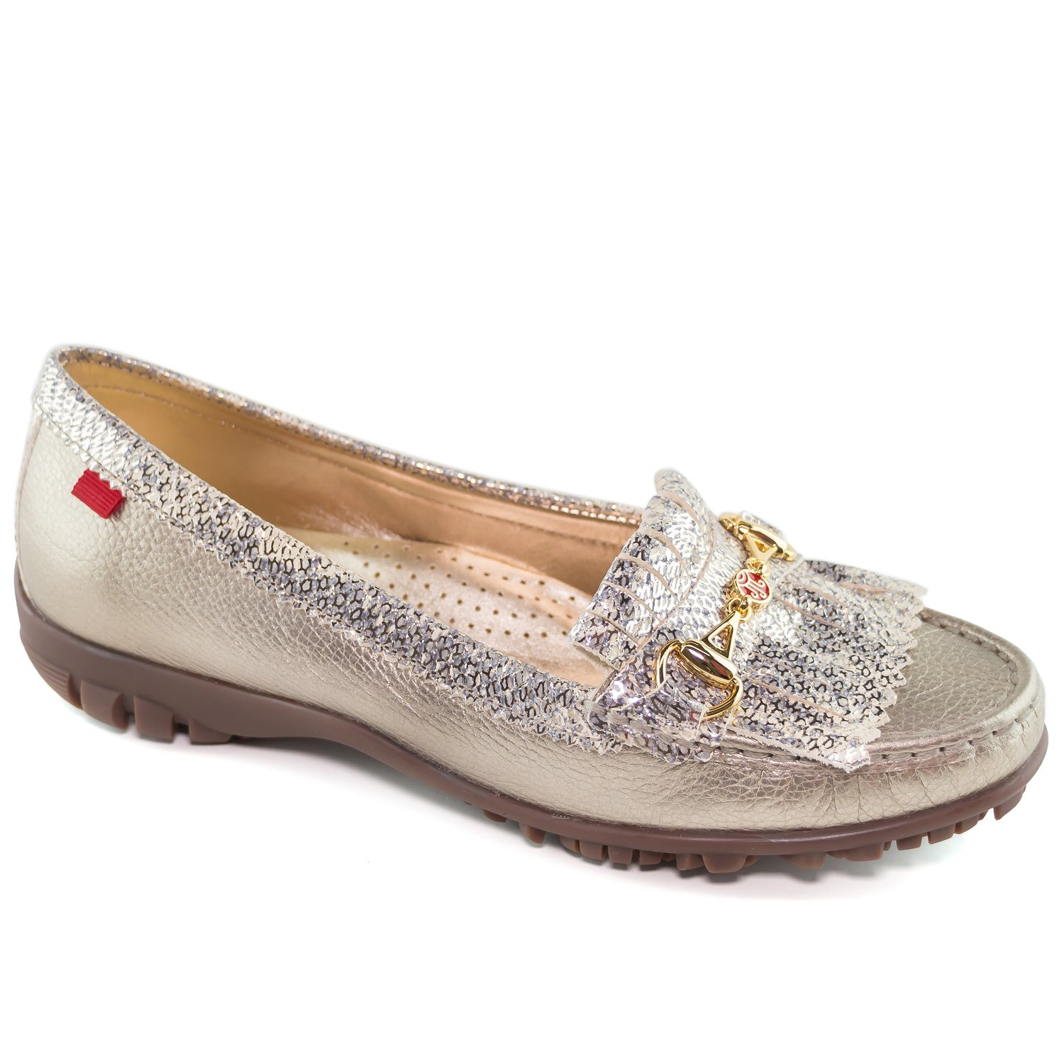 Marc Joseph New York Women's Fashion Shoes Lexington Golf Champagne Metallic Snake With Patent Kilt Moccassin Size 7