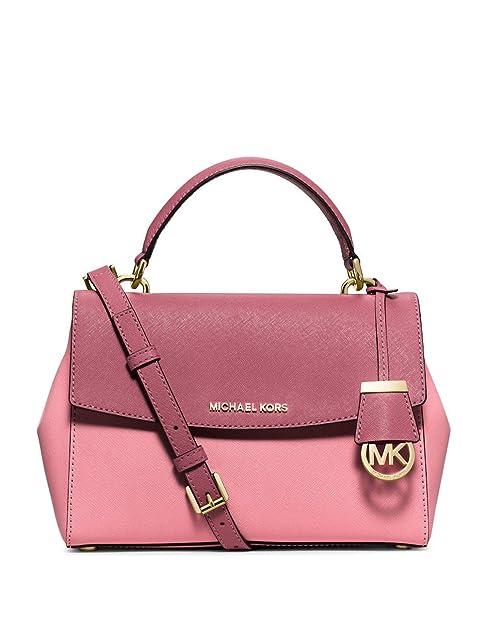adcf17d71e878 MICHAEL MICHAEL KORS Ava Small Saffiano Leather Top Handle Crossbody Satchel  Rose Tulip  Amazon.ca  Shoes   Handbags