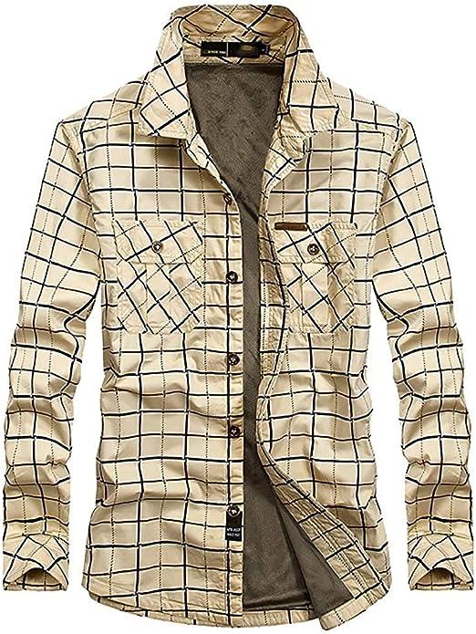 ACZZ Camisa acolchada cálida de invierno para hombre, leñador de hombre Camisa casual de manga larga a cuadros de franela a cuadros Camisa cálida Sherp Jacket,Beige,M: Amazon.es: Bricolaje y herramientas