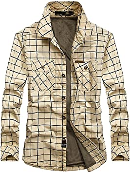 ACZZ Camisa acolchada cálida de invierno para hombre, leñador de hombre Camisa casual de manga larga a cuadros de franela a cuadros Camisa cálida Sherp Jacket,Beige,L: Amazon.es: Bricolaje y herramientas