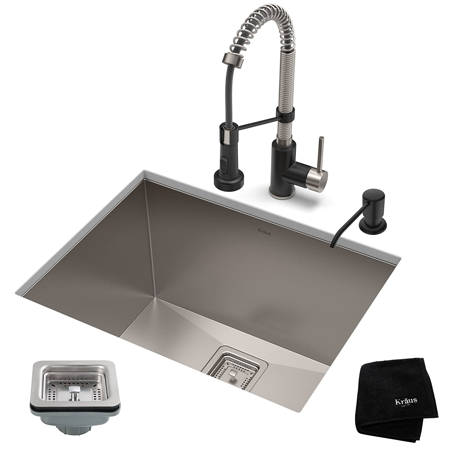 KRAUS KHU24L-1610-53SSMB Set with Pax Laundry Utility Sink and Bolden Commercial Pull Faucet in Stainless Steel Matte Black Kitchen Sink & Faucet Combo 24 Inch