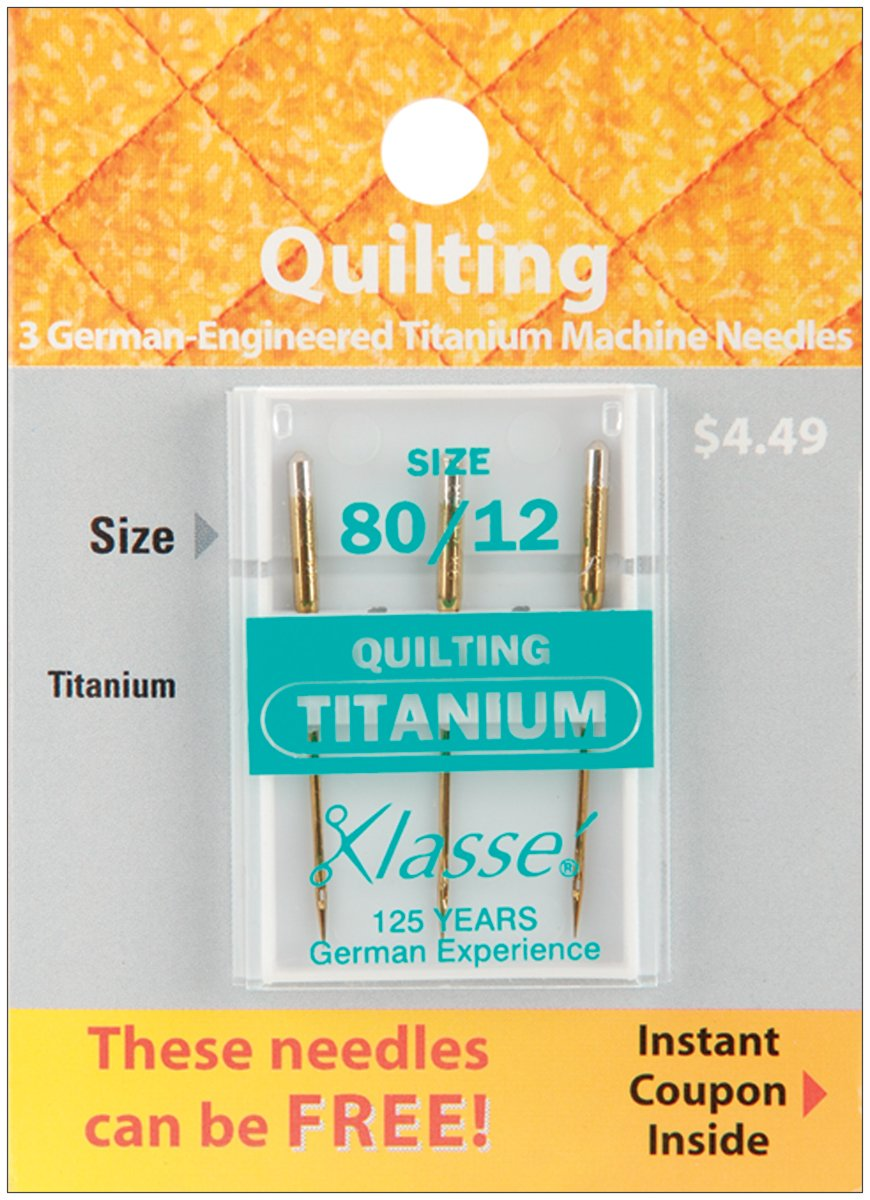 Klasse Titanium Quilting Machine Needles-Size 12/80 3/Pkg Tacony Corporation