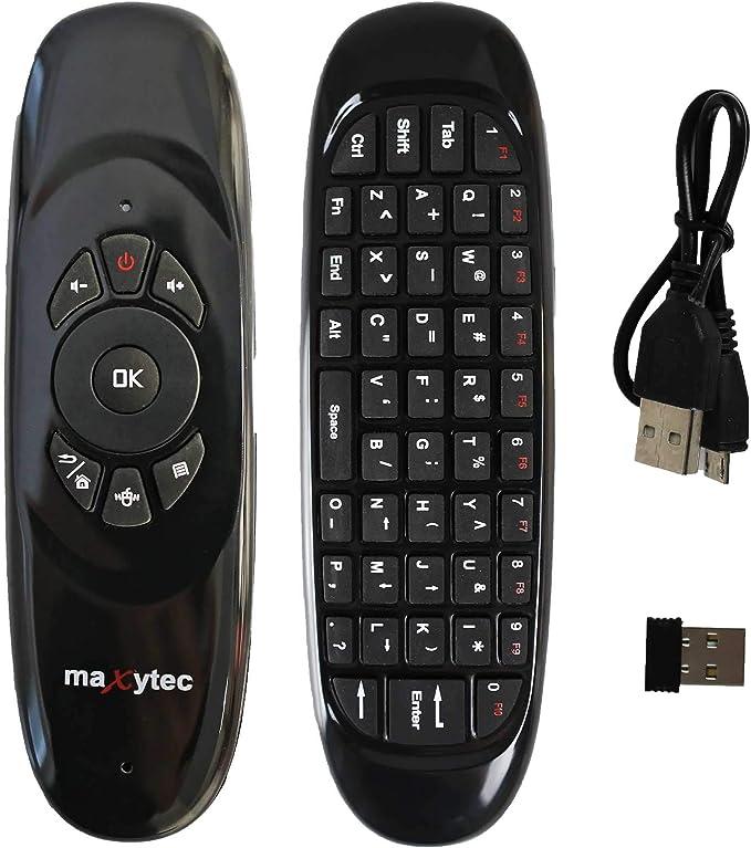 Maxytec e40 - Mando a Distancia inalámbrico con Air Mouse, antivibración y Teclado Recargable, con Mini Teclado para Smart TV, HTPC, IPTV, Android TV Box, X Box 360, PS3, Mando a Distancia: