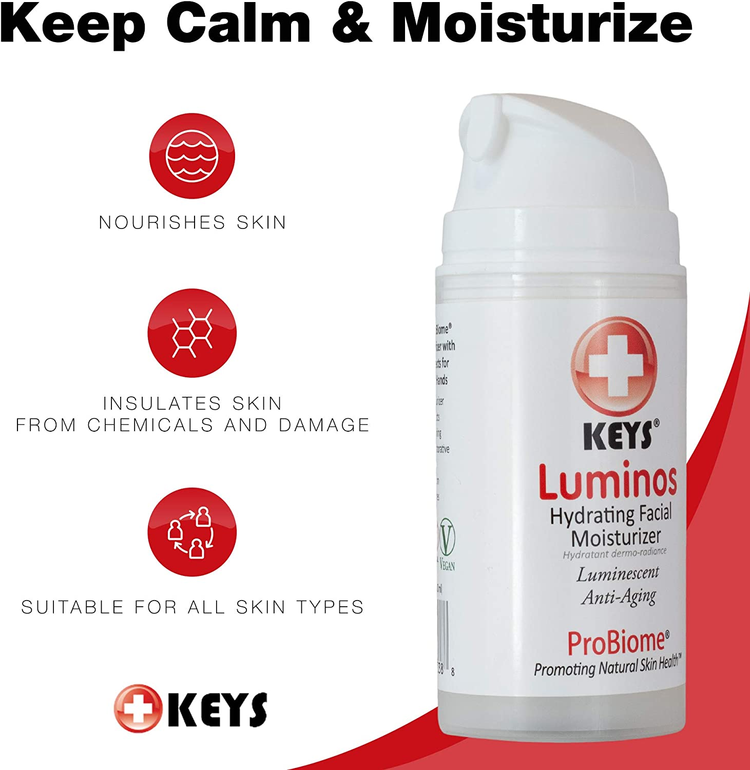 Keys Care Luminos Hydrating Clear Natural Moisturizer – Makeup Base For Radiant Skin – Anti-Aging Treats Discoloration For All Skin Types