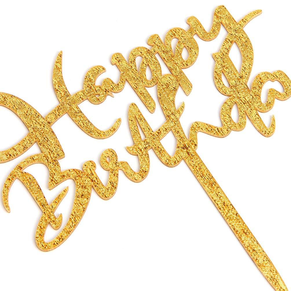 INNORU Gold Happy Birthday Cake Topper