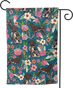 antcreptson German Shorthaired Pointer Floral Dog Garden Flag, Double Sided Garden Outdoor Yard Flags for Summer Decor (Garden Size - 12.5X18 inch)