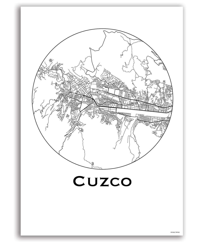 City Map Dekoration Poster Plakat Cuzco Peru Minimalist Map Geschenk