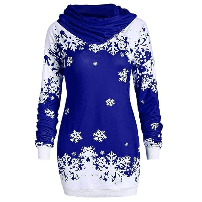 BBestseller Chaqueta Suéter Abrigo Jersey Mujer Invierno Talla Grande Copo de Nieve Imprimiendo Navidad Hoodie Sudadera Mujer Caliente y Esponjoso Top