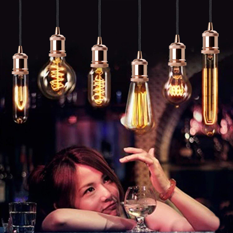 BXROIU Vintage Retro E27 Hängelampe Halter mit 1.2M Kabel Deckenfassung Fassung Socket Lampenfuss für Hängeleuchte (Gold Rose)