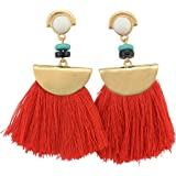 idealway Women's Girls Elegant Jewellery Bohemia Ethnic Tassels Dangle Stud Earrings Eardrop