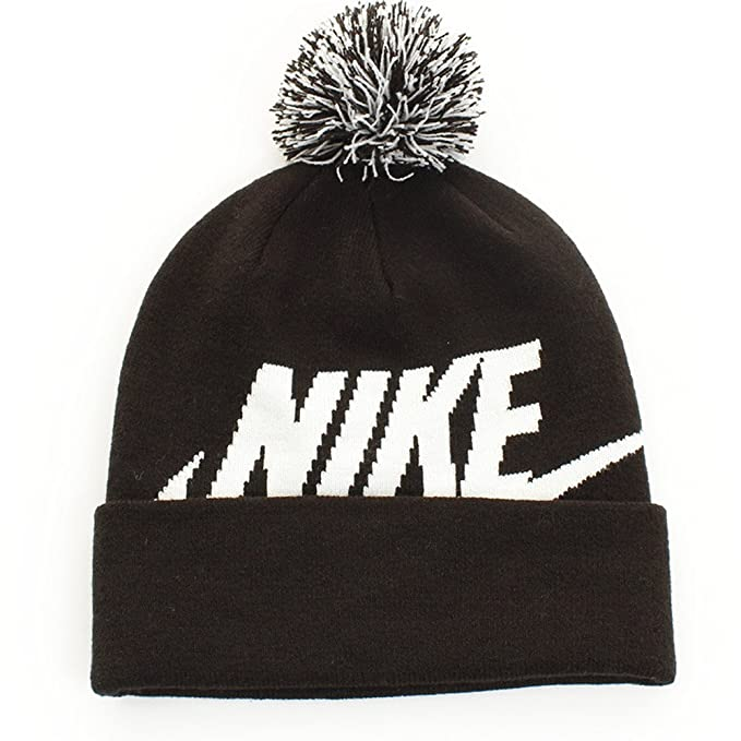 new york e96d7 4c226 Nike NSW Beanie Pom Little Kids Big Kids Black White White Beanies   Amazon.ca  Clothing   Accessories