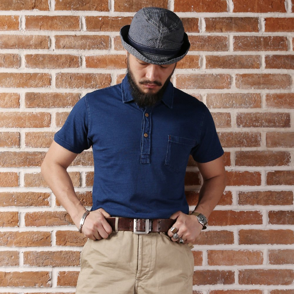 1930s Style Mens Shirts Bronson Mens Rare Indigo Series Blue Short Sleeved Polo T-Shirts $34.99 AT vintagedancer.com