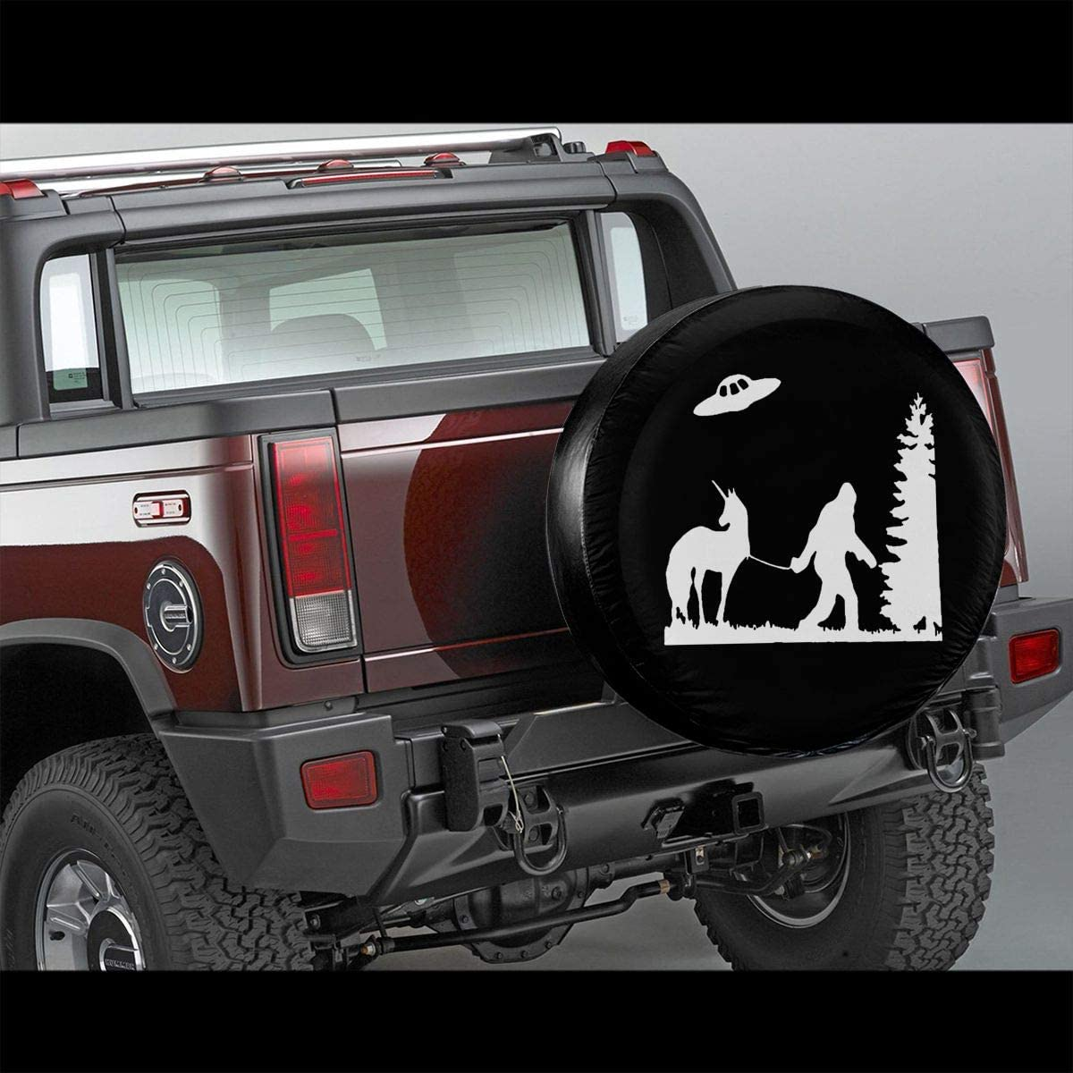 RV Trailer Bigfoot Leading A Unicorn with UFO Spare Tire Wheel Cover Waterproof Dust-Proof Universal Tire Covers Truck and Many Vehicles 14 15 16 17 Jeep SUV