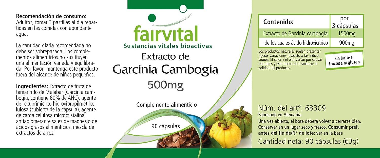 Garcinia cambogia extracto de 500 mg - 1 mes - VEGANO - ALTA DOSIS - 90 cápsulas - normalizada al 60% HCA: Amazon.es: Salud y cuidado personal