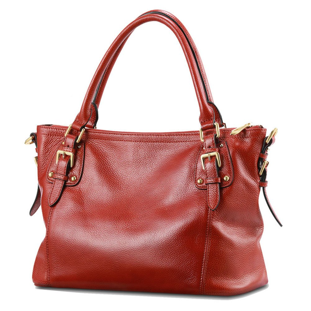 Kattee Women's Vintage Soft Leather Tote Shoulder Bag(Light Wine Red, Small)