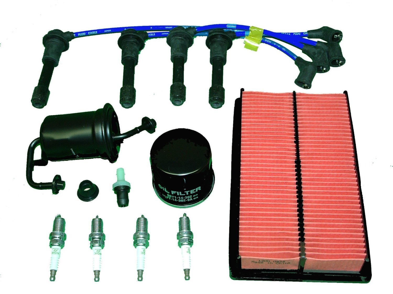 TBK Tune Up Kit Mazda Miata MX5 1994 to 1997 Includes Air Filter Oil Filter Fuel Filter PCV Valve and Grommet NGK Brand Spark Plugs and NGK Brand Ignition Wires