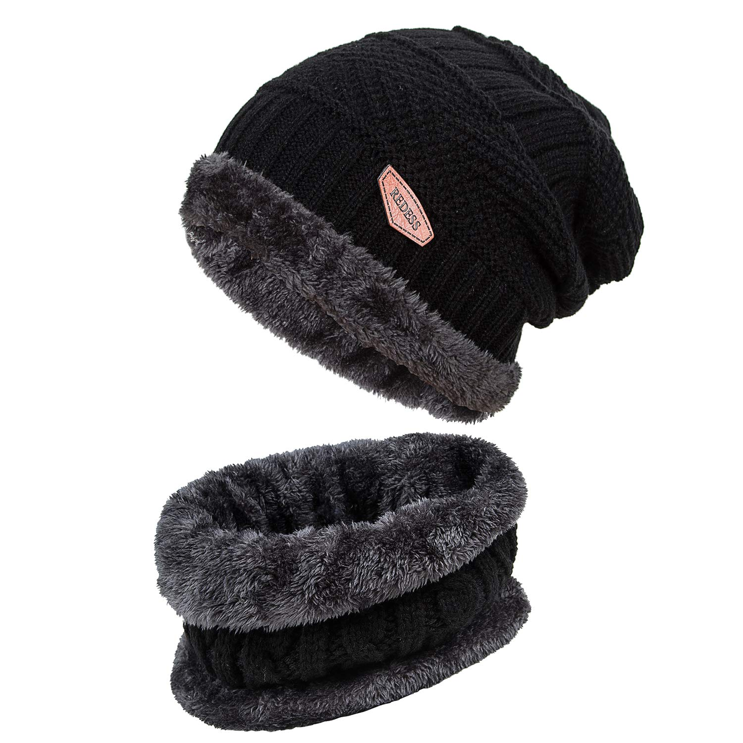 f911270b254 REDESS Winter Warm Beanie Knitting Hat Scarf Neck Warmer Set for Men and  Women