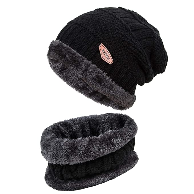 REDESS Winter Warm Beanie Knitting Hat Scarf Neck Warmer Set for Men and  Women e01c1d3f8591