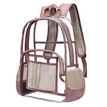 Clear Transparent Schoolbag PVC Backpack Large Capacity Daypack Handbag Rosegold