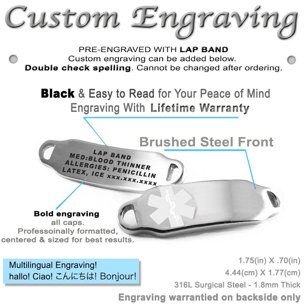 Millefiori Glass White, My Identity Doctor Pre-Engraved /& Customizable Lap Band Medical Bracelet Pattern