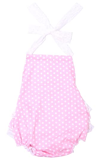 939428f52ea Cilucu Baby Girl Romper Newborn Lace Ruffle Romper Dress Infant Summer  One-Piece Outfits Dot