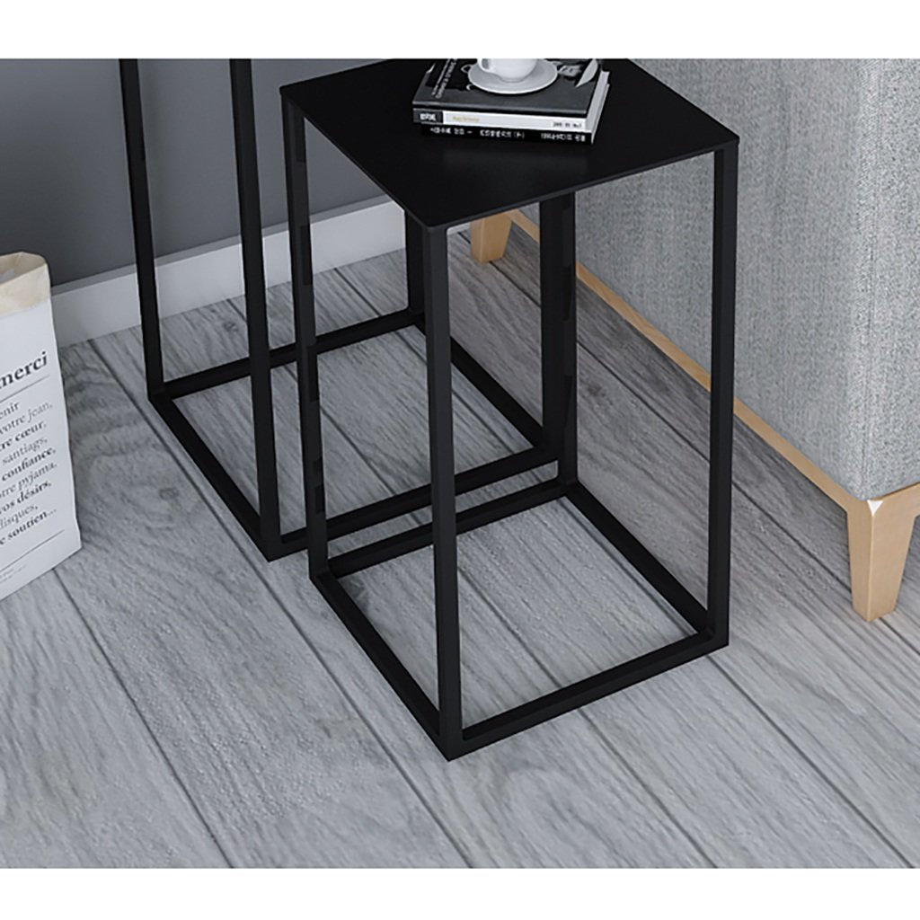 Hongsezhuozi Tische Teetisch Couchtisch Kreativ Kreativ Kreativ Amerikanisch Metall Hochtisch Einfach Mini Modern Wohnzimmer Sofa Schwarz Beistelltisch Ecktisch Freizeittisch (größe   34x34x74cm) e25e20