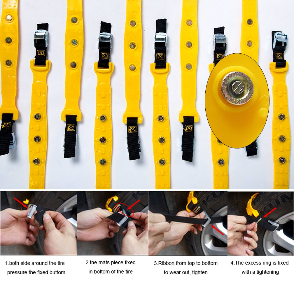 """Anti-Skid Snow Chains Car Safety Chains 185mm-295mm PATENTED CHAINS VeMee Truck Width 7.3/""""-11.7/"""" Yellow Emergency Traction Adjustable Chains Universal Anti Slip TIRE SNOW MUD Chains10pcs Car,SUV"""