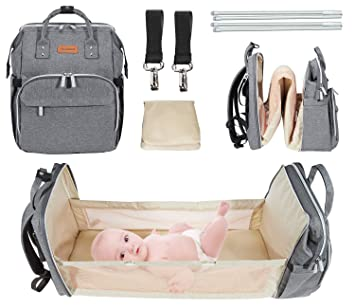 Army Green Baby Nest with Mattress Waterproof Large Oxford Travel Bassinet Foldable Baby Bed Portable Diaper Changing Mummy Bag Backpack Portable Bassinets for Baby Travel Crib Infant Sleeper