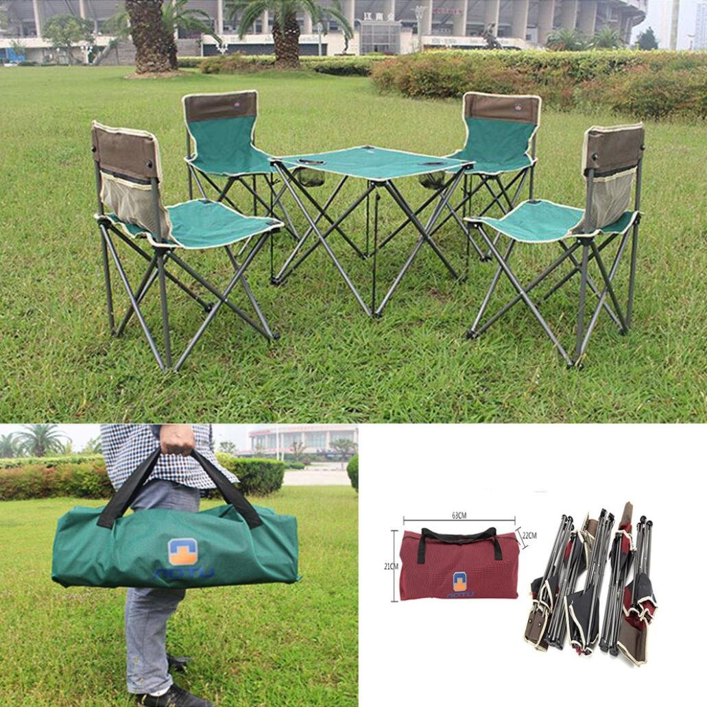 Dreamyth Outdoor 5 Pieces Leisure Foldable Desk And Chair (green)