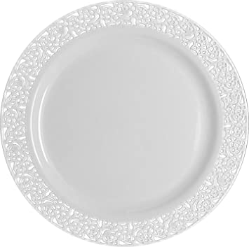 Captivating Inspiration White With White Lace Rim 10.25u0026quot; Heavyweight Plastic  Dinner Plates ...