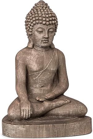 Blumfeldt Gautama Statue Jardin Bouddha Exterieur Interieur Fibrociment Robuste Protection Uv Et Gel Resistante Aux Intemperies Antichoc Atmosphere Spirituelle Stable Aspect Pierre Amazon Fr Jardin