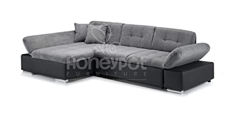 Honeypot Malvi Corner Sofa Bed with storage Black/Grey Left Hand