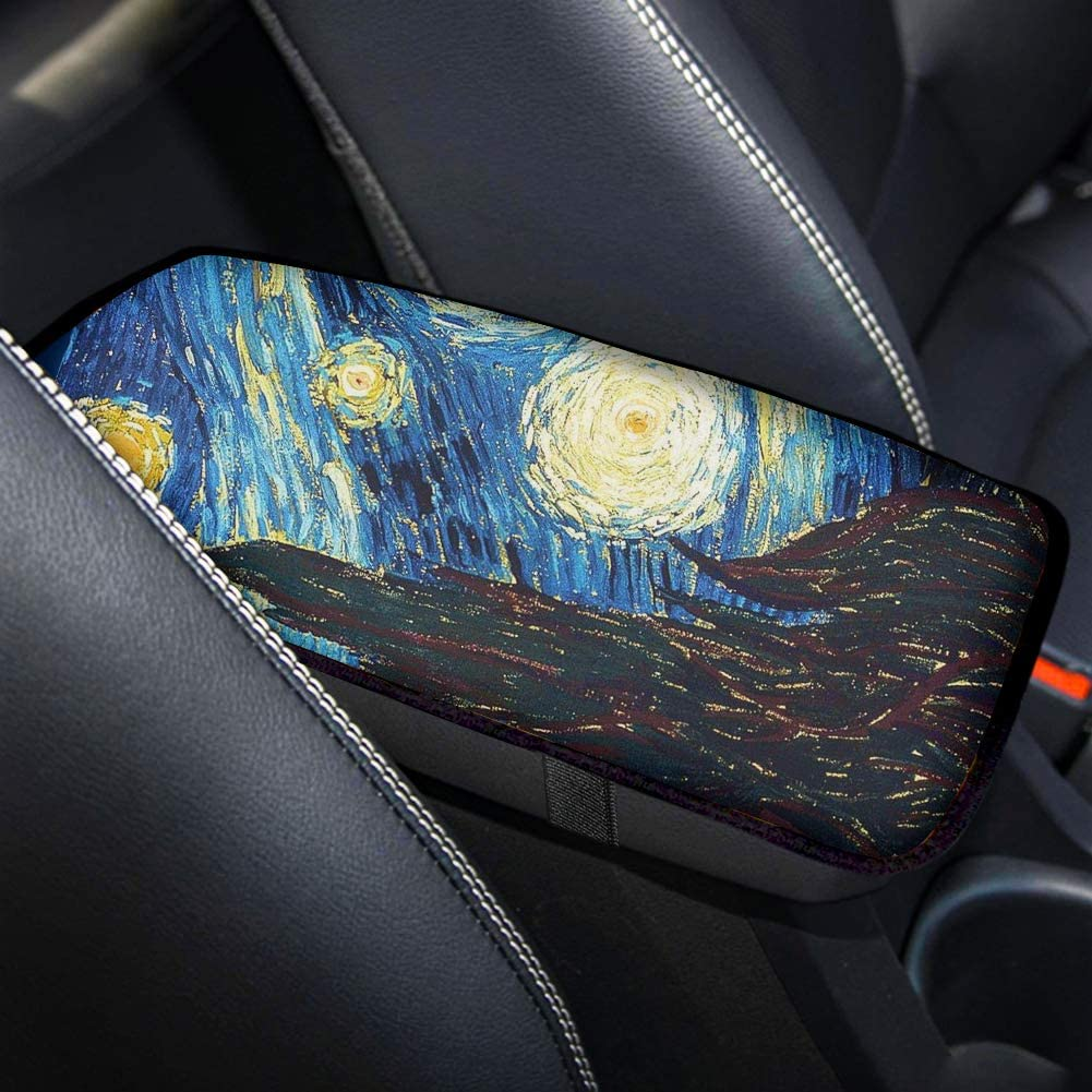 doginthehole Fashionable Sunflowers Car Accessories for Women and Girls,Neoprene Vehicle Center Console Armrest Cover Pad Lid Cover Cushion,Universal Fit Most Cars
