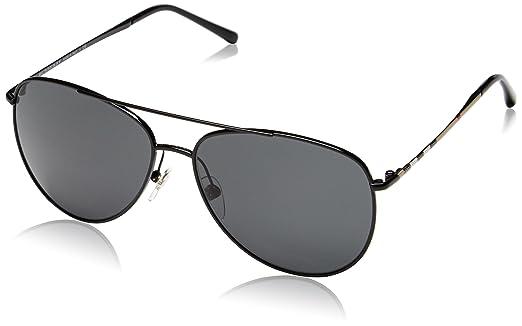 burberry aviators pjud  Burberry Women's BE 3072 Aviator Sunglasses, 100187, Black frame, Gray lens