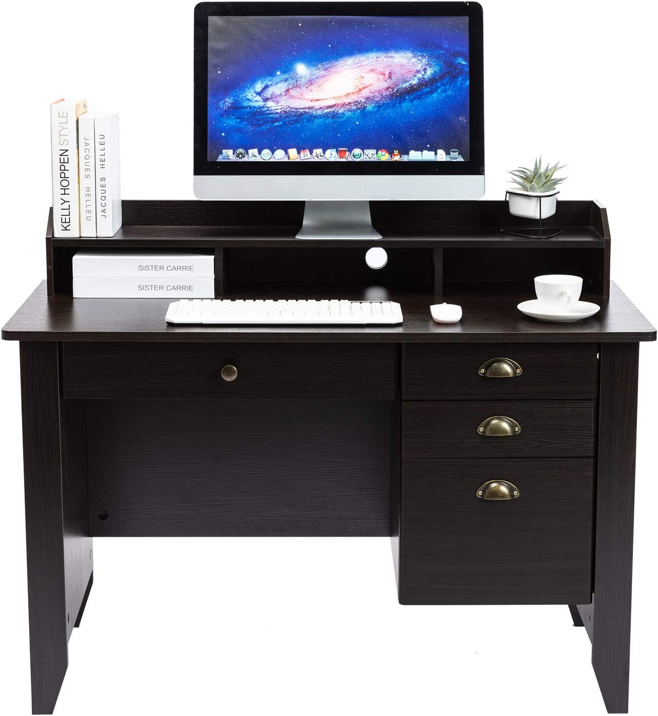 AUXSOUL Computer Desk with 4 Drawers and Hutch Shelf - Classical Home Office Desk - Spacious Student Writing Desk - Vintage Style Study Table, Workbench(Dark Chocolate)