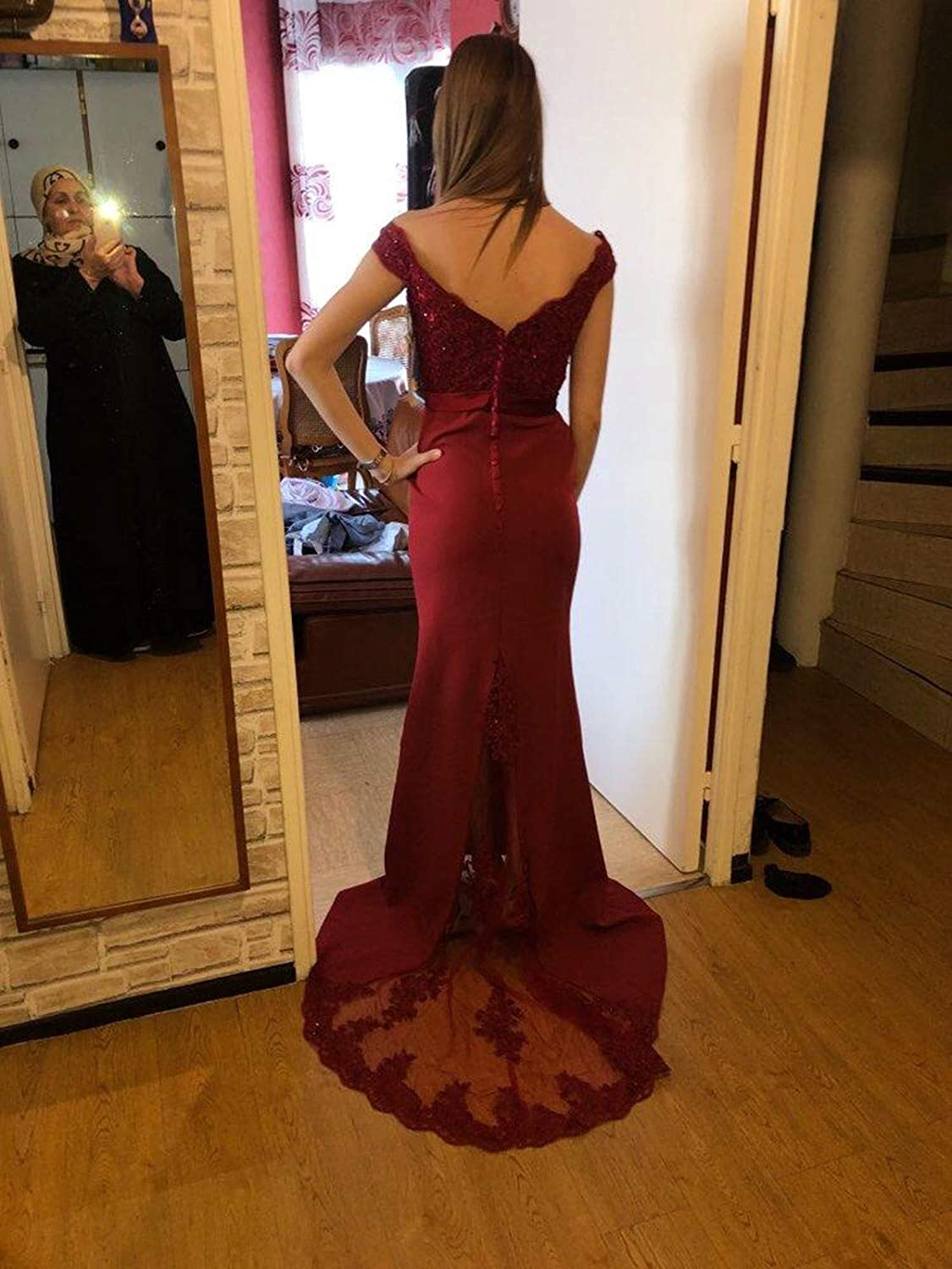 Off The Shoulder Lace Appliques Mermaid Evening Gowns Beaded Chiffon Dress